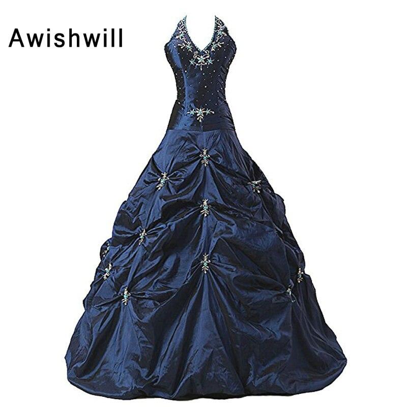 Photo réelle Vestidos de 15 anos licou perles taffetas sans manches robe de bal Vintage Quinceanera robe bleu marine robes de Debutante