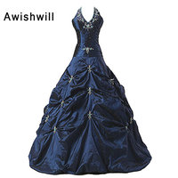 Real Photo Vestidos de 15 anos Halter Beading Taffeta Sleeveless Ball Gown Vintage Quinceanera Dress Navy Blue Debutante Gowns