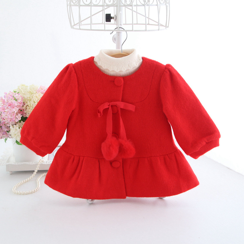 Baby Coat Red Tweed Jacket with Pom Pom Balls Baby Girls Winter Clothes Blazer Princess Girls Outerwear A014 New Year Outfits серебряный подвес ювелирное изделие 81087