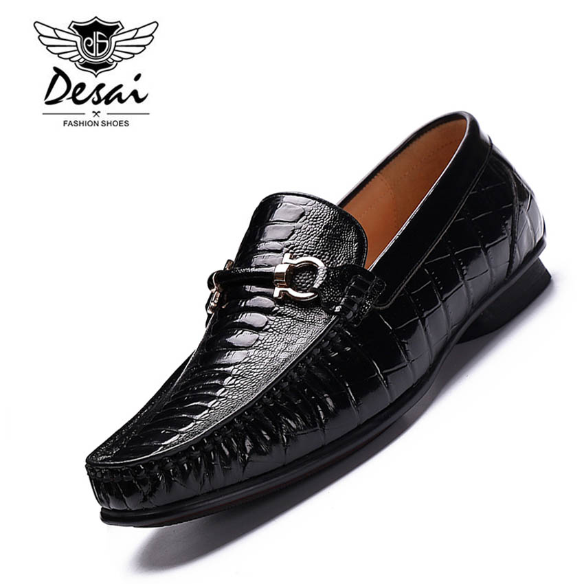 DESAI Genuine Leather Men Dress Shoes Oxfords Handmade Men Loafers Business Casual Comfortable Flats for Men