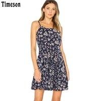 Timeson Summer Style Sleeveless Women Floral Print Dress Stretch Big Hem Casual Beach Mini Dresses Spaghetti