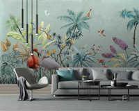 Beibehang Custom tapete tropischen regenwald blume und flamingo TV hintergrund wand wohnkultur wohnzimmer schlafzimmer tapete