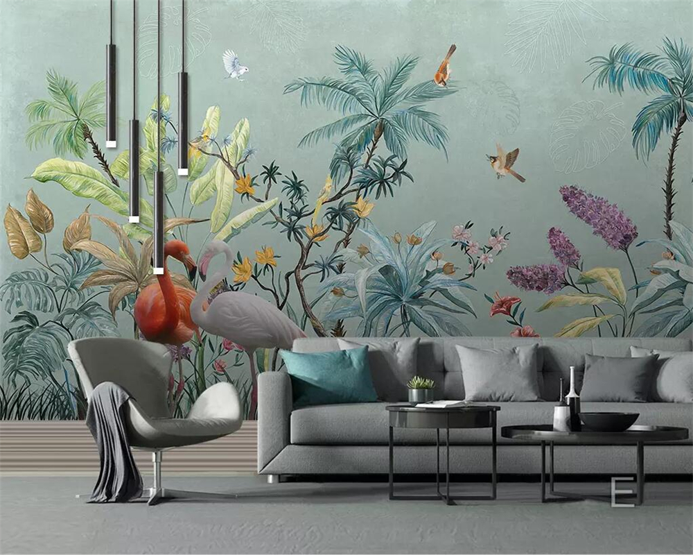 Home Improvement Painting Supplies & Wall Treatments Helpful Free Shipping Custom 3d Wallpaper Nordic Mosaic Geometric Flamingo Leaves Tv Background Wall Wallpaper In Kids Bedroom