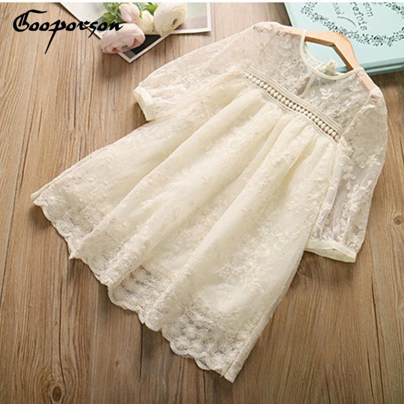 Nuevo vestido de encaje de manga larga de verano para niña vestido Beige bordado ropa de niños vestido de moda
