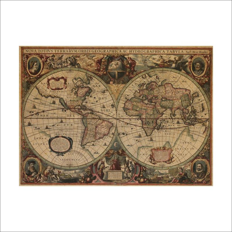 1641 ancient nautical charts vintage kraft paper poster wall stickers room decoration 02 ...