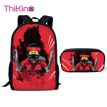 Thikin Game Ninjago School Bag 2PCS Set for Boys Girls Teenagers Supplies Lunch Pen Bags Backpack Kids Book