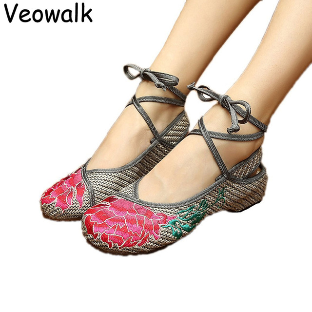Veowalk Lowest Price Fashion Women's Old Peking Ankle Strap Flat Heel  Canvas Shoes Flower Embroidery Dancing