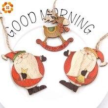 High Quality!3PCS Printed Christmas Santa Claus&Snowman Wooden Pendants Ornaments DIY Christmas Tree Ornaments Wood Crafts Gifts недорого
