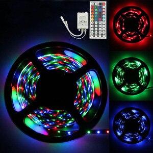 5 m rgb 3528 300 led smd flexível lâmpada de tira luz + 44 chave ir controle remoto tv pc tela backlight armário iluminação da cozinha