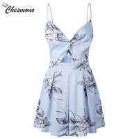 Casual Floral Print Strap Backless Bowknot Playsuits Women Elegant Summer V Neck Jumpsuits Rompers Sexy Beach