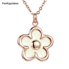 flower stainless steel pendant necklace cz stone necklaces