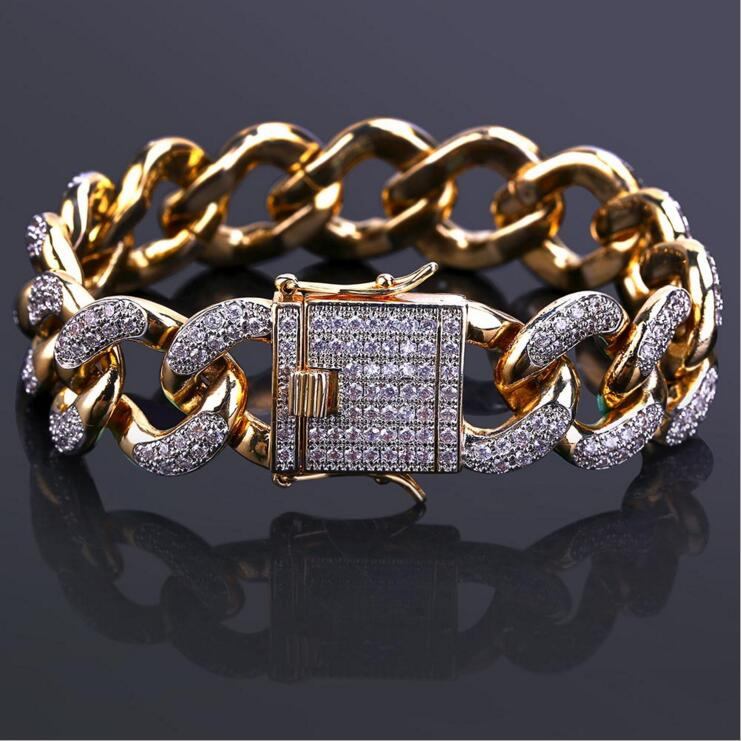 micro pave AAA+ Sparking cubic zirconia cz wide cuban link chain Gold color hiphop bling rock mens engagement cz bracelet