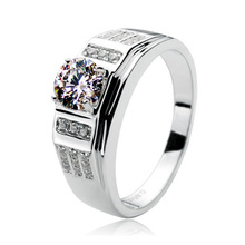 Тестирование положительный 0.8CT мужское кольцо белого золота Муассанит ювелирные изделия Имитация Алмазный Обручение кольцо человек 18 К сертификат проверки