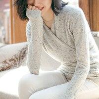Vestido Винтаж 100% кашемировый свитер Для женщин водолазка, свитер Женская зимняя обувь Теплый джемпер Sexy v образным вырезом Dot Comfy свитер
