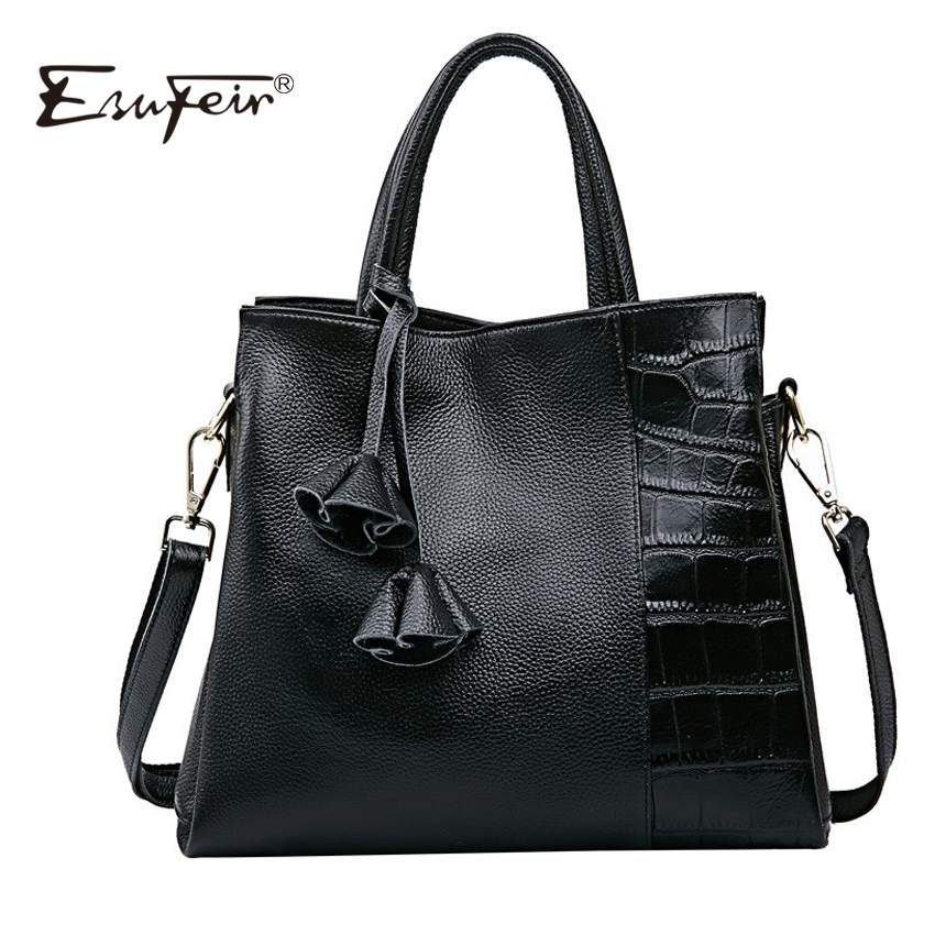 ESUFEIR Brand 100% Genuine Leather Women Handbag Fashion Shoulder Bag Tassel Flowers Cowhide Women Bag Designer Crossbody Bag 2017 women bag cowhide genuine leather fashion folding handbag chain shoulder bag crossbody bag handbag party clutch long wallet