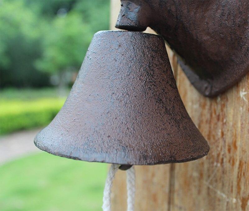Винтажная чугунная Собачья голова Добро пожаловать обеденный звонок настенное крепление дверной звонок двухсторонний Кантри Металлический висящий колокольчик животный домик ферма - 5