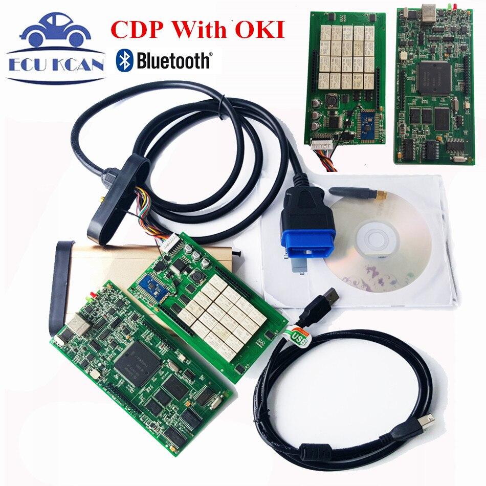Цена за Новейшие V2014.02 С Keygen OBD2 Сканер TCS CDP PRO Диагностический Инструмент Авто Com С Bluetooth CDP OKI Chip (M6636B OKI Chip)
