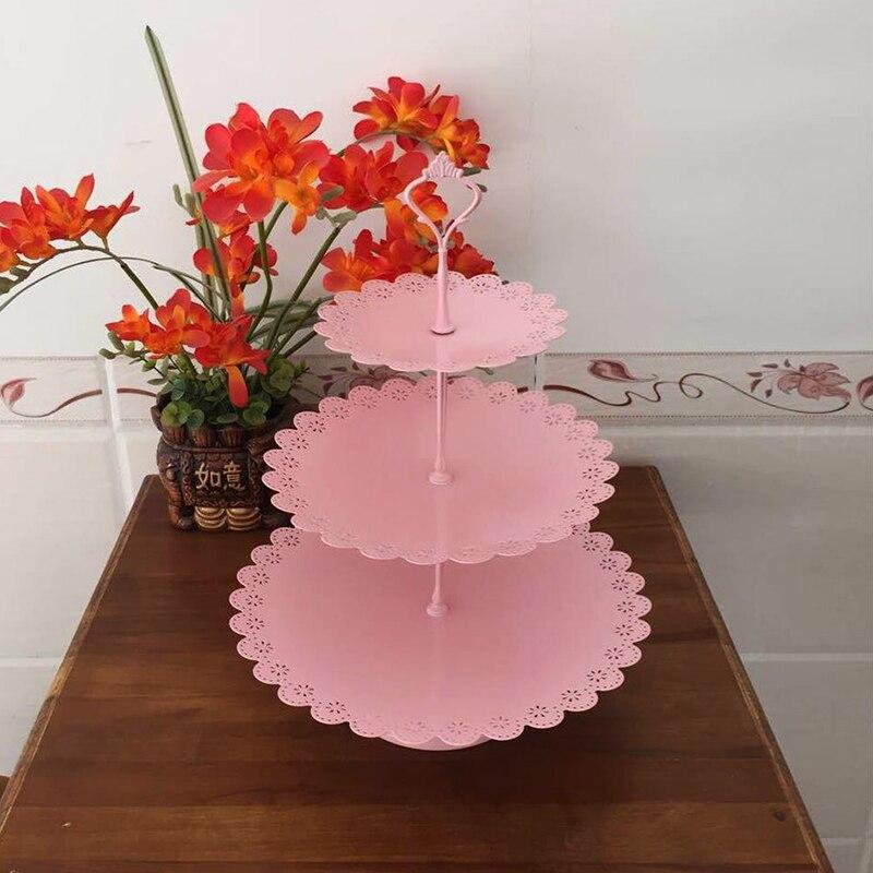 7 piezas de pie de pastel Rosa niños fiesta cupcake stand decoración utensilios de cocina para hornear juego de vajilla de fiesta-in Soportes from Hogar y Mascotas    3