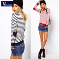 VANGULL Women Sweater 2016 Top Limited Striped Female loose long-sleeved  Striped Knitwear Pullove plush sweater coat tide