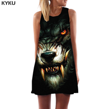 KYKU Wolf Dress Women Blood Ladies Dresses War Office Animal Korean Style Black Party Womens Clothing Summer New Cool Femme wolf by wolf blood for blood