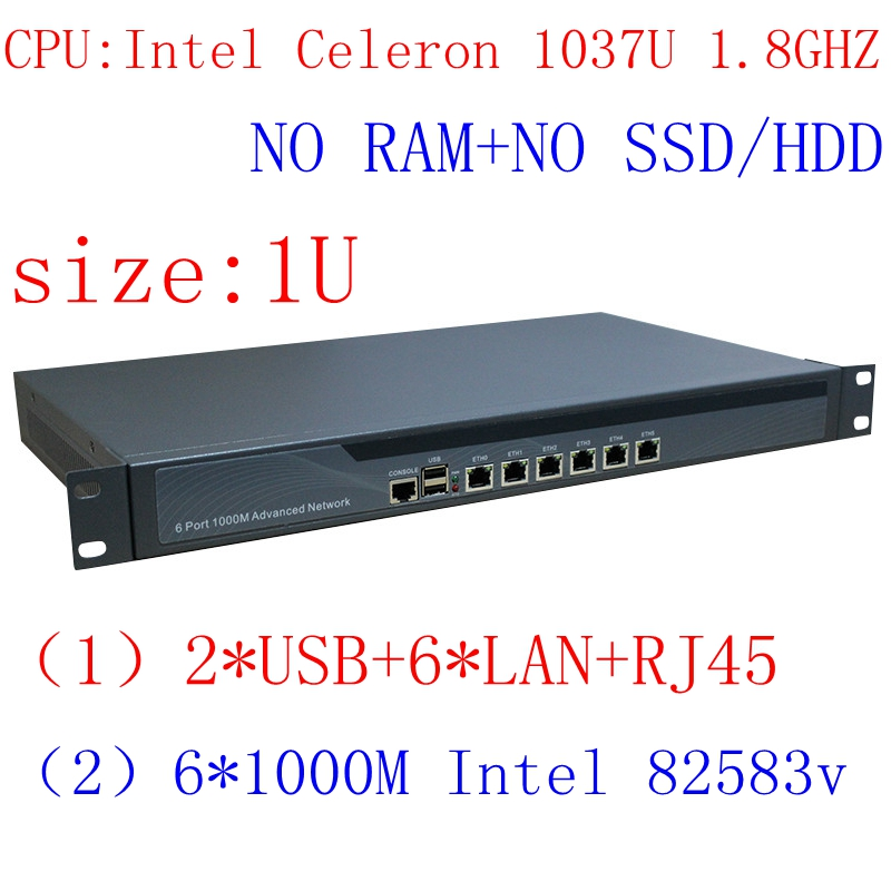 1037U Multi Gigabit Network Port Routing 1U High End Firewall Server With Intel PCI E 1000M 6*82583V Barebone PC