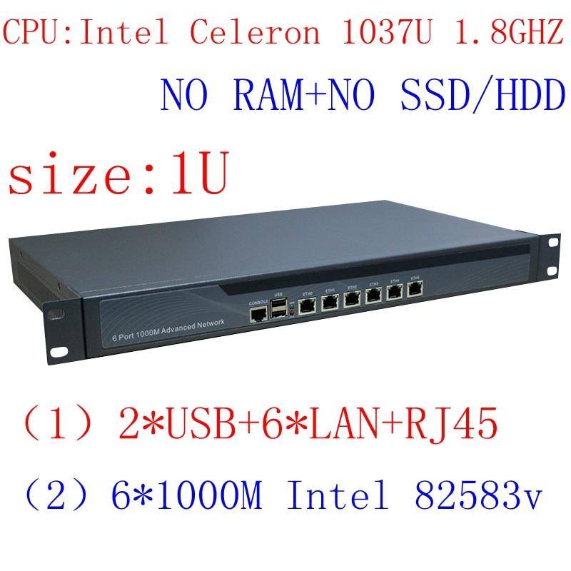 1037U Multi Gigabit Network Port Routing 1U High End Firewall Server With Intel PCI E 1000M 6*82583V Barebone PC