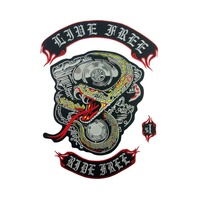 Snake Patches Live Free Ride Free Embroidery Patch Motorcycle Club Vest Outlaw Biker Mc Jacket Punk Iron On Badge Stickers Patch