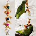 New 30cm Parrot Pet Bird Bite Chew Toy Wooden Straw With Bell Cage Swing Hanging Birds Toys