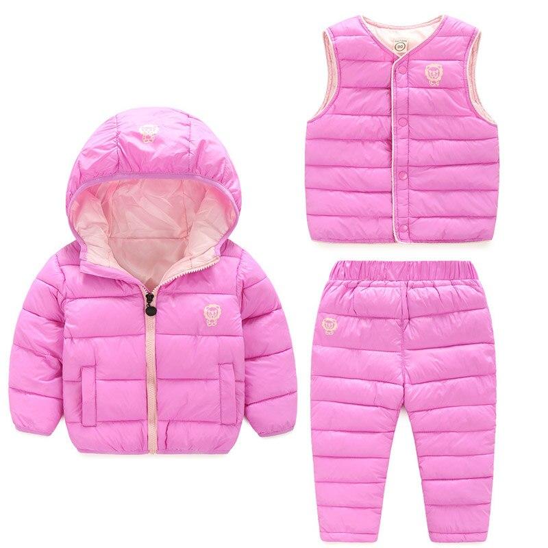 Winter Children's Clothing Set Kids Ski Suit Overalls Baby Girls Boys Down Coat Warm Snowsuits Jackets+Vest+Pants 3Pcs Snow Wear