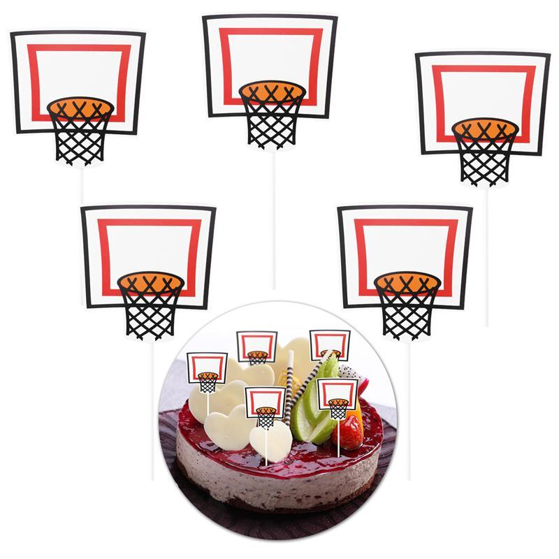 Us 0 81 47 Off 5pcs Cake Topper Wrapper Basketball Shooting Pattern Cake Decorations Party Supplies In Cake Decorating Supplies From Home Garden
