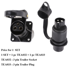 1 SET AOHEWEI  European Standard Auto Parts 3 Pin Plastic Trailer plug socket 12V 3 Way Trailer Connectors with 4 fixing point