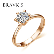 BRAVKIS vintage rose gold color promise engagement rings for women round cz stone solitaire ring wedding bands jewel BJR0012A