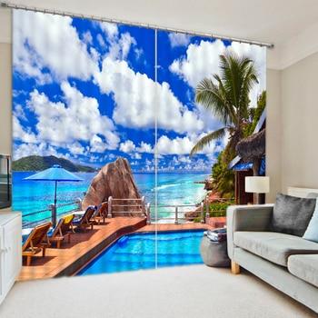 Bedding room Living room Blackout Window 3D Curtains Hotel Drapes Luxury  Modern Sandy Beach Cortinas De Sala