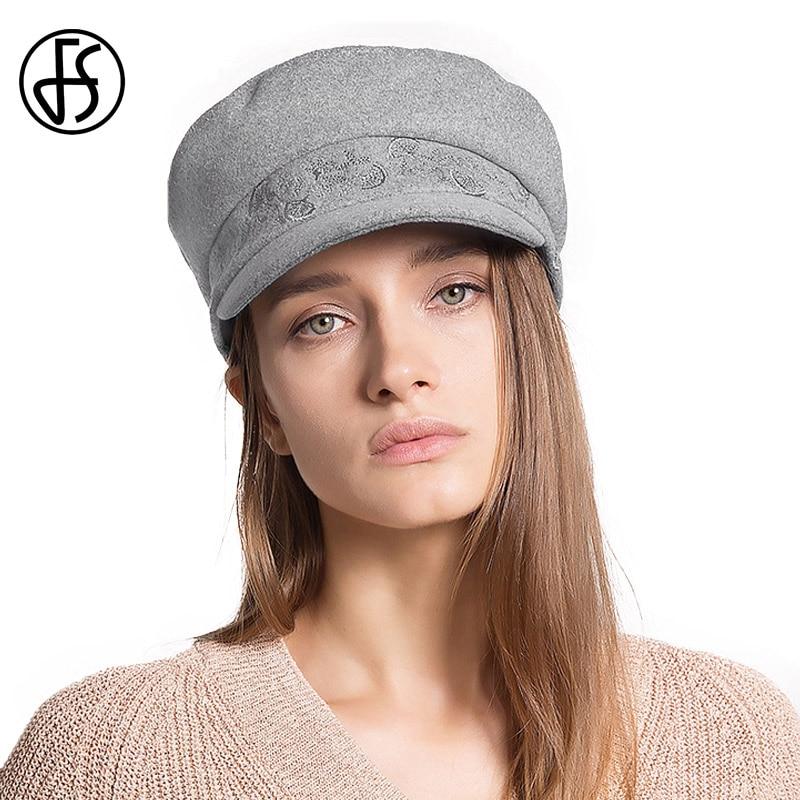FS Autumn Winter Beret Flat Hat For Women Vintage Wool Felt Hats With Elegant Embroidery Female Soft Casquette Caps