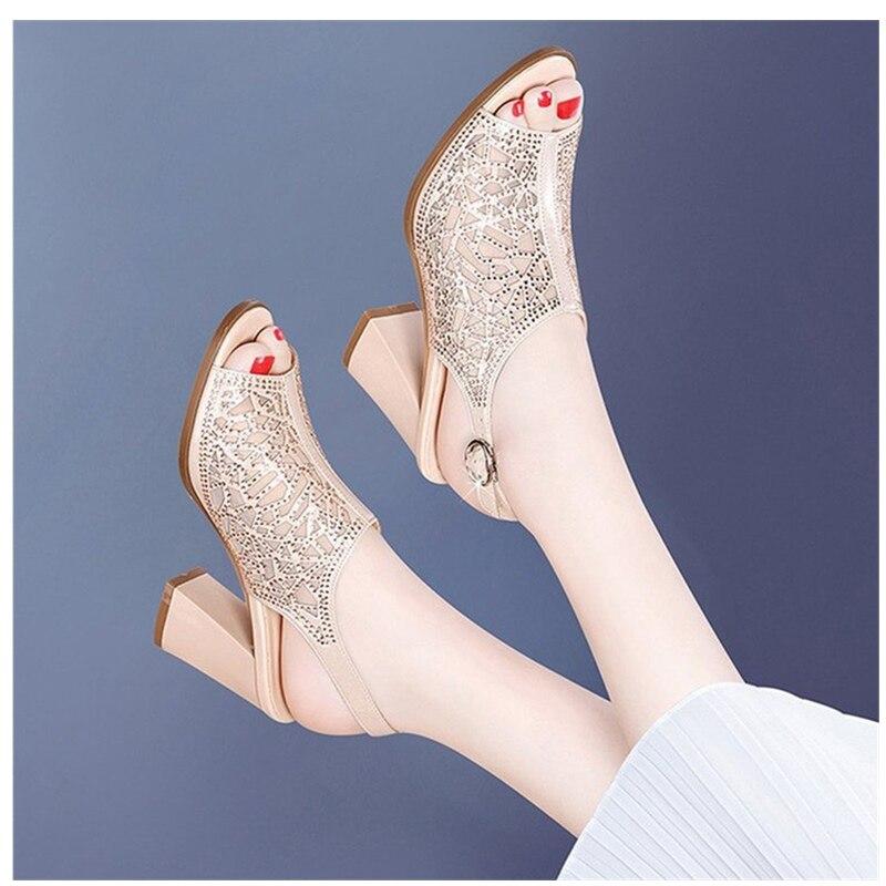 Femmes chaussures d'été Comforty plate-forme sandales Sexy maille Ventilation Piscine bouche chaussures élégant couleur Pure sandales à talons hauts - 6