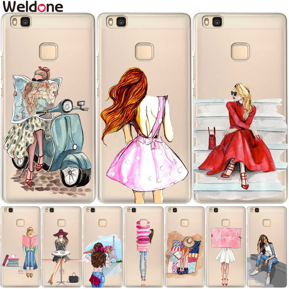 Weldone New Arrival Fashion Girl Case Cover For Huawei P20 Lite Pro P10 Plus P8 P9 Lite 2017 honor 9 6A 6X Phone Case Cover Etui
