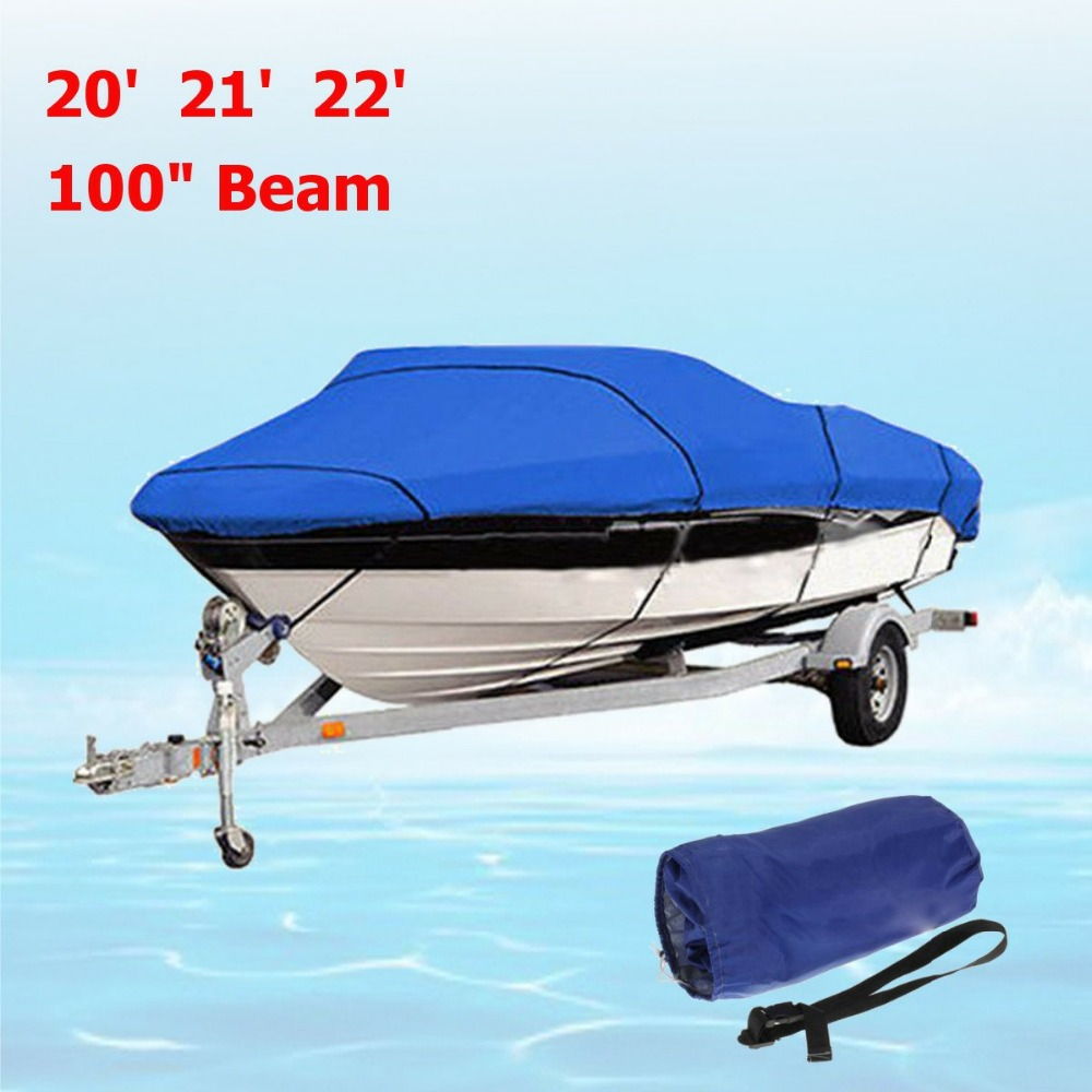 Heavy Duty Fishing Ski Runboat Boat COVER 20-22 Ft 100inch Beam V-Hull Waterproof Blue Waterproof Kit