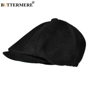Image 2 - BUTTERMERE Mens Herringbone Flat Cap Wool Newsboy Hats Male Dark Grey Winter Classic Octagonal Cap Vintage British Painter Hat