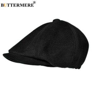 Image 2 - BUTTERMERE Мужская кепка в елочку, Шерстяная кепка газетчика, мужская темно серая зимняя Классическая восьмиугольная кепка, винтажная шляпа британского художника