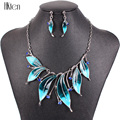 MS20181 Fashion Brand Jewelry Sets Silver Plated Leaf Design Bright Colors Blue Necklace Earring Set High Quality 2014 New