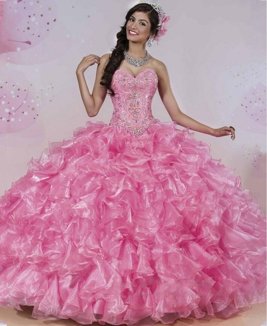 Luxury Pink Quinceanera Dresses 2016 Two Piece Sparkle Rhinestones Skirt Softly Tulle Ball Gowns For 15 Years Sweet 16 Princess