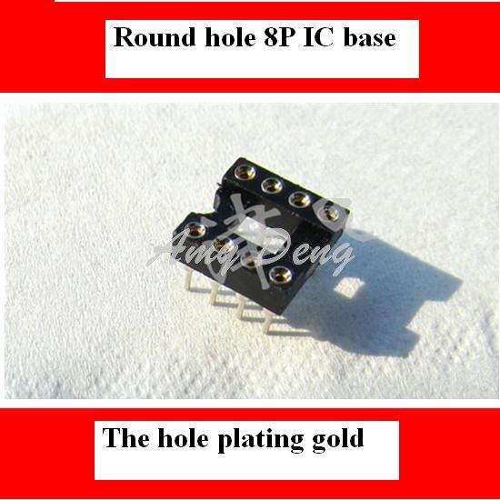 100pcs/lot  8pin IC L Inear IC Socket Hole Seat DIP Socket Hole Plated Gold 0.8U 8 Feet