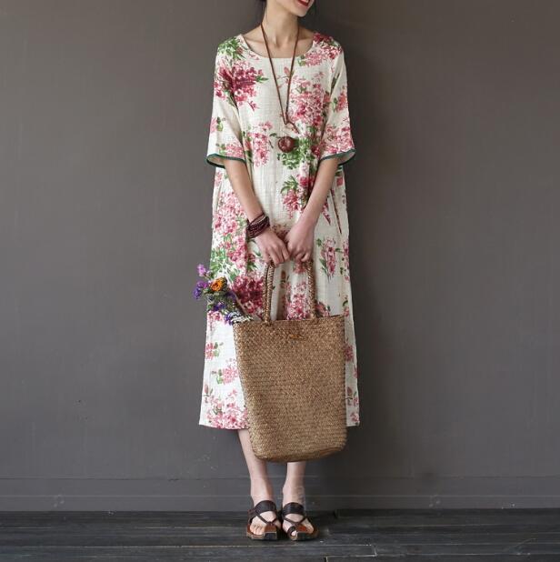 Dresses New Women Cotton Linen Dress Summer Loose short Sleeve big Size Vintage Design Solid  print floral Dress Casual Vintage