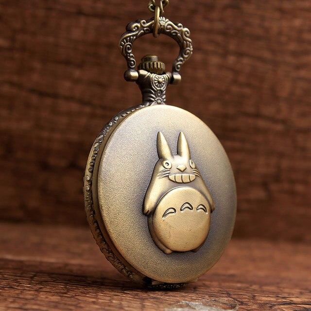 Cute Totoro Retro Bronze Quartz Pocket Watch