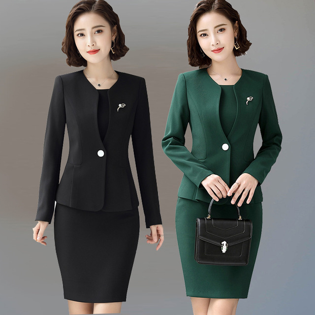 US $54.97 5% OFF|Women Office Wear Dress Suits 2 Piece Sets Blazer and  Dress 2019 Ladies Black White Green Dresses Suit Women Plus Size 4XL-in  Blazers ...