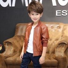 Новинка года; осенние детские кожаные куртки для мальчиков; модная однотонная верхняя одежда на молнии с круглым вырезом; куртки для мальчиков; детская одежда; 7jk050