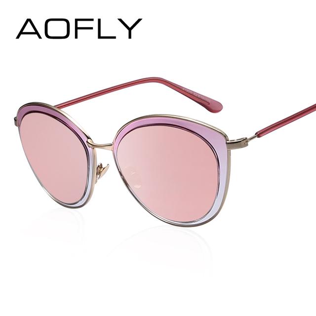 Aofly ronda moda gafas de sol de espejo mujeres cat eye shades uv400 marco de aleación de gafas de sol de la vendimia diseñador de la marca de lentes de colores