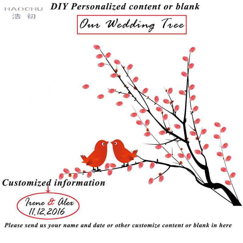 HAOCHU Tela di Nozze Compleanno Guest Book Per Impronte Digitali Firma Creativo FAI DA TE Pittura Uccelli di Amore Bacio Albero Home Decor Poster