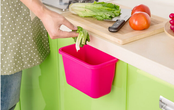 Kitchen Waste Basket Holder: 1PC Hanging Standing Kitchen Waste Bin Hanged Cupboard