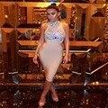 Оптовая 2017 Новый стиль платье несколько Бежевый Бисероплетение Чистая пряжа знаменитости Мода досуг коктейль бинты платье (H1413)